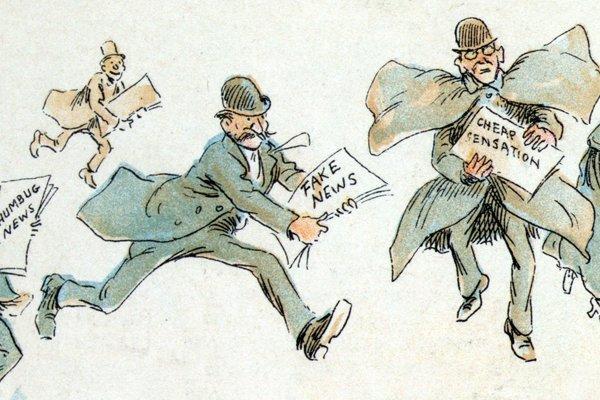 Výrez z ilustrácie Fredericka Burra Oppera. Muži utekajú s falošnými správami a senzáciami.