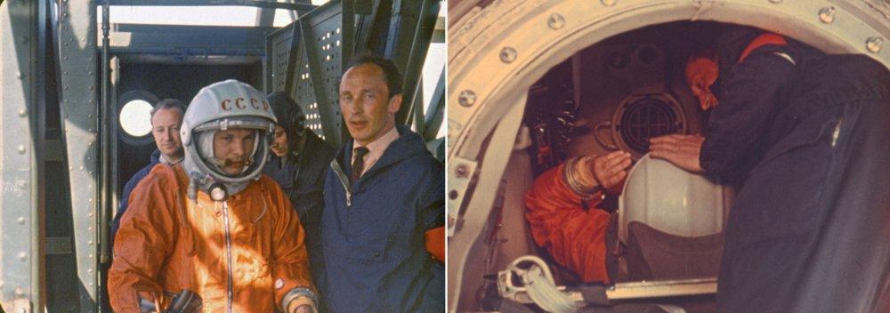 Jurij Gagarin, prvý človek vo vesmíre. 12. apríla 1961 na štartovacej rampe a pri usádzaní v kabíne Vostoku pred štartom.