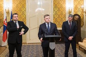 Andrej Danko, Robert Fico a Béla Bugár.