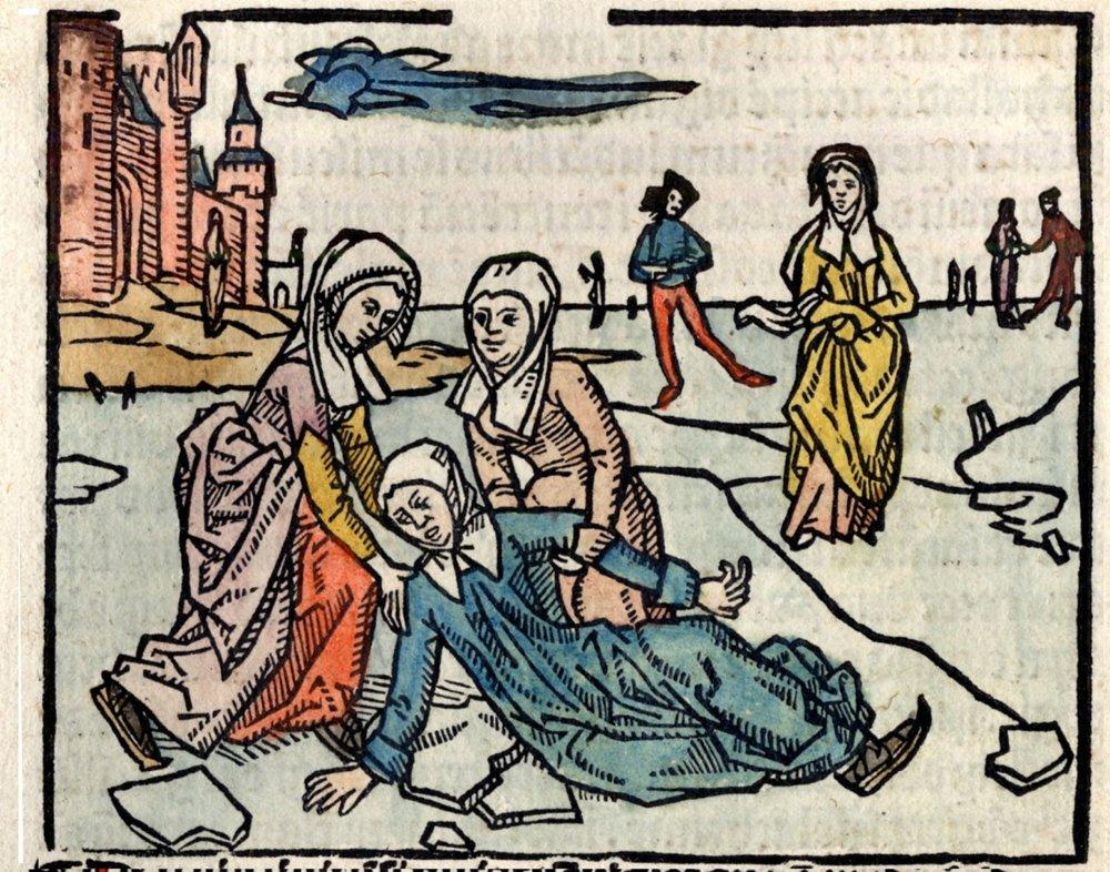 Osudový pád priniesol svätej Lidvíne útrapy na celý život. Pre nás je rytina, ktorá ho zobrazuje, prvým svedectvom o stredovekom korčuľovaní.