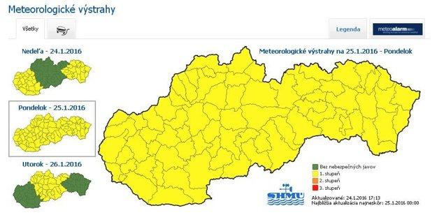 Poľadovica hrozí zajtra na celom Slovensku.
