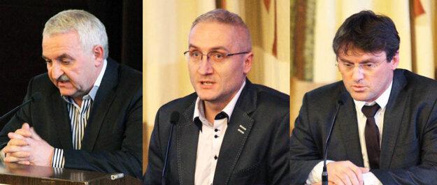 Na ďalšej konferencii sa môžu uchádzať všetci traja kandidáti (zľava Ján Panák, Róbert Šuník, Ľubomír Moravčík), resp. aj iní záujemcovia.