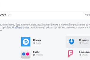 Ponuka Aplikácie zobrazí všetky kvízy, hry či webové stránky, ktorým ste povolili prístup k svojmu kontu na Facebooku. Jednotlivé aplikácie môžete buď zmazať, alebo upraviť prístup k informáciám.