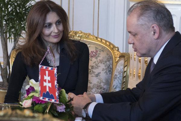 Kandidátka na ministerku zdravotníctva Andrea Kalavská na stretnutí s prezidentom Andrejom Kiskom.