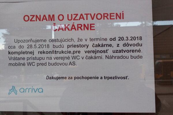 Čakáreň bude zatvorená do 28. mája.