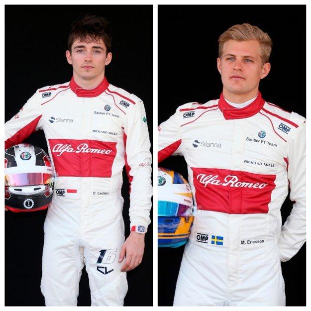 Monačan Charles Leclerc (vľavo) a  Švéd Marcus Ericsson.