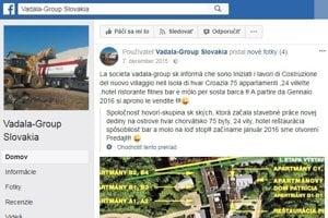 Takto sa na facebooku chválila firma Vadalovcov, že začala práce na Sidorovom chorvátskom rezorte. Ten podľa Igora Sidora patrí iba jemu a Taliani s ním nemajú nič spoločné.