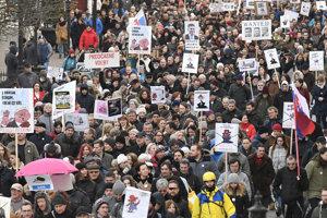 Protestné zhromaždenie Za slušné Slovensko v Košiciach.