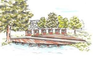 Jeden z návrhov na obnovenie jazierka s mólom.