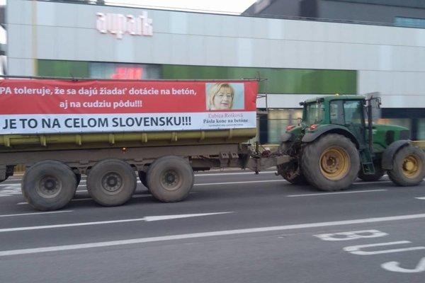 Protest farmárov v Košiciach.