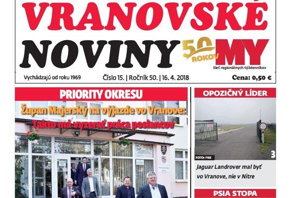 Titulná strana týždenníka Vranovské noviny č. 15/2018.