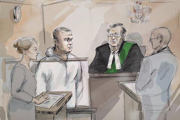 Kresba zo súdneho vypočúvania podozrivého Aleka Minassiana (druhý zľava).