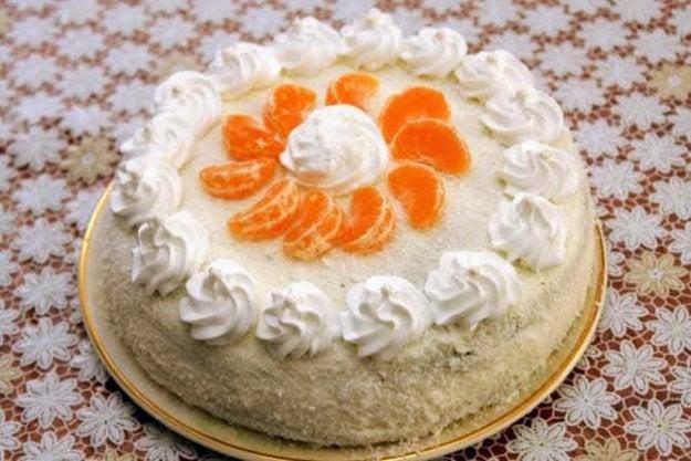 Kokosová torta s mandarínkami