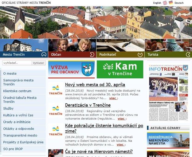 Pôvodná webstránka mesta Trenčín.