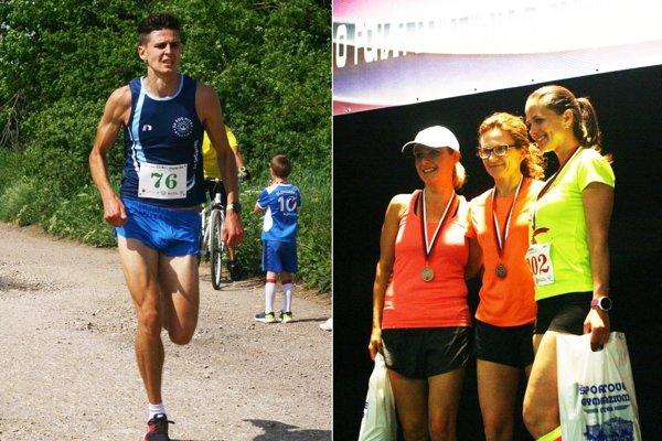 Vľavo Dávid Mazúch (víťaz na 9,3 km), vpravo tri najlepšie ženy v behu na 5,5 km.