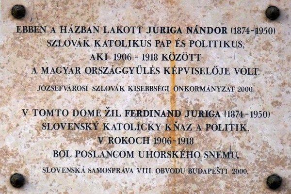 Pôsobenie Ferdiša Jurigu v Budapešti pripomína pamätná tabuľa  na ulici Tavaszmező 2.