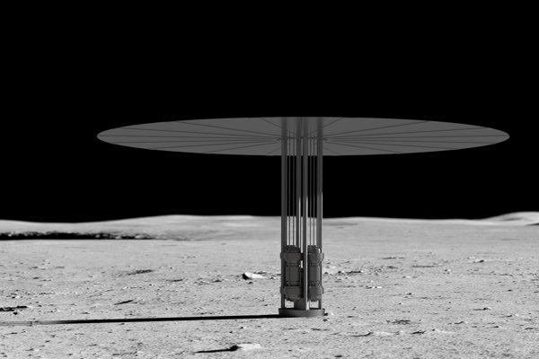 Umelecké zobrazenie reaktora Kilopower na povrchu Mesiaca.