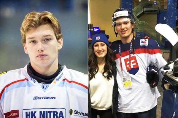 Samuel Buček vľavo na snímke zo sezóny 2015/16, kedy debutoval za mužov Nitry. Druhá fotka je z MS do 20 rokov na prelome rokov 2017 a 2018.