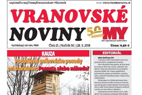 Titulná strana týždenníka Vranovské noviny č. 21/2018.