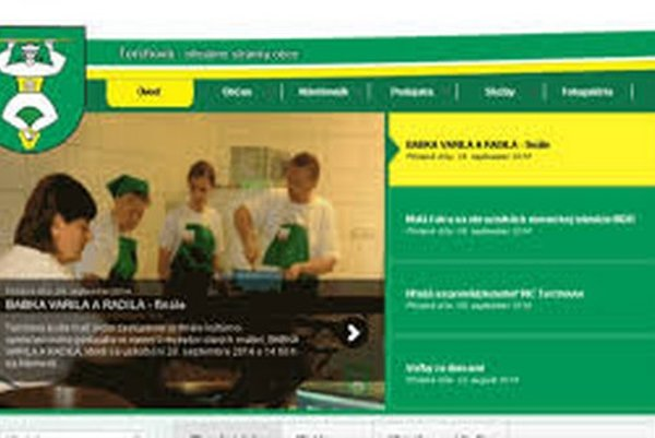 Náhľad internetovej stránky obce Terchová.