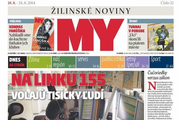 Titulka najnovšieho čísla týždenníka MY Žilinské noviny.
