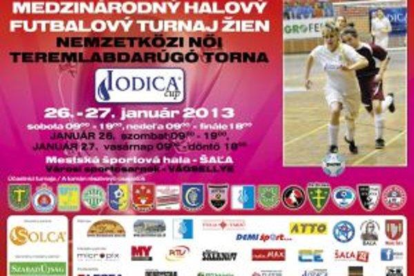 Medzinárodný halový futbalový turnaj žien - oficiálny plagát.