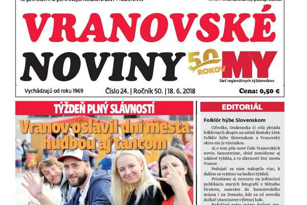 Titulná strana týždenníka Vranovské noviny č. 24/2018.
