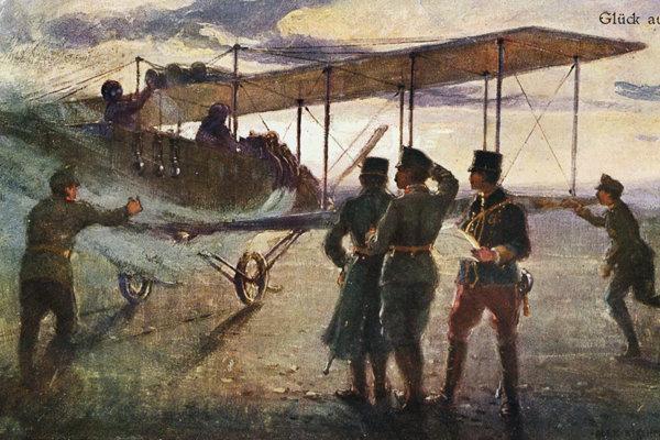 Rakúsko-uhorská pohľadnica s leteckou tematikou z čias prvej svetovej vojny.