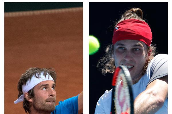Slovenskí tenisti Lukáš Lacko (vpravo) a Norbert Gombos spoznali súperov vo Wimbledone.