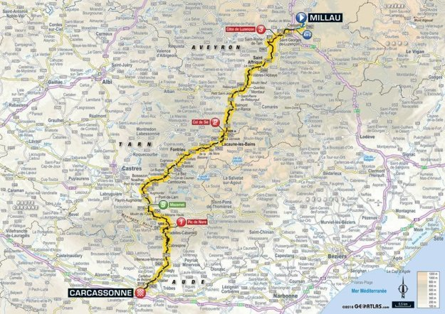 Mapa 15. etapy Tour de France 2018