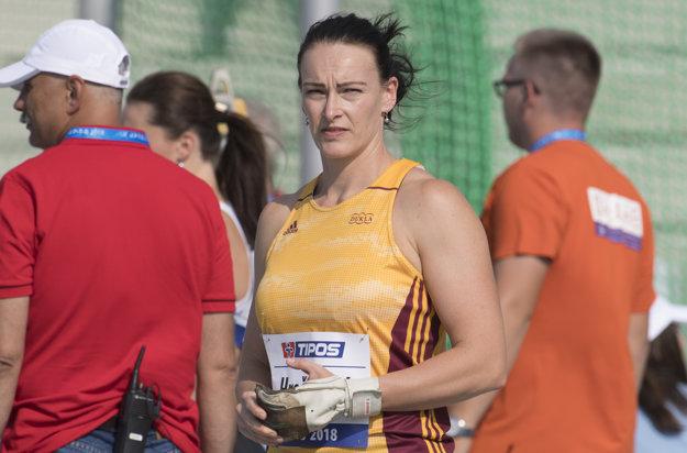 Slovenská reprezentantka Martina Hrašnová v disciplíne kladivo žien na atletickom mítingu P - T - S v Šamoríne.