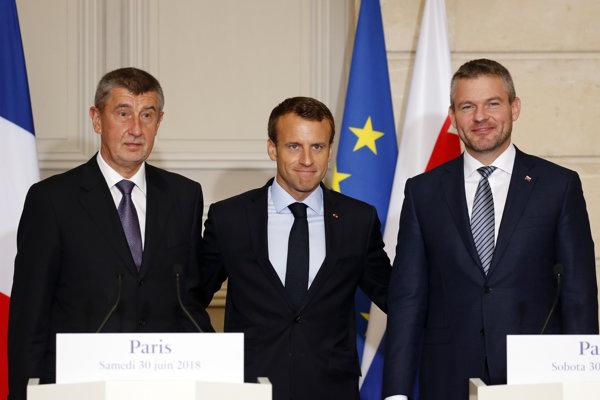 Babiš, Macron a Pellegrini.