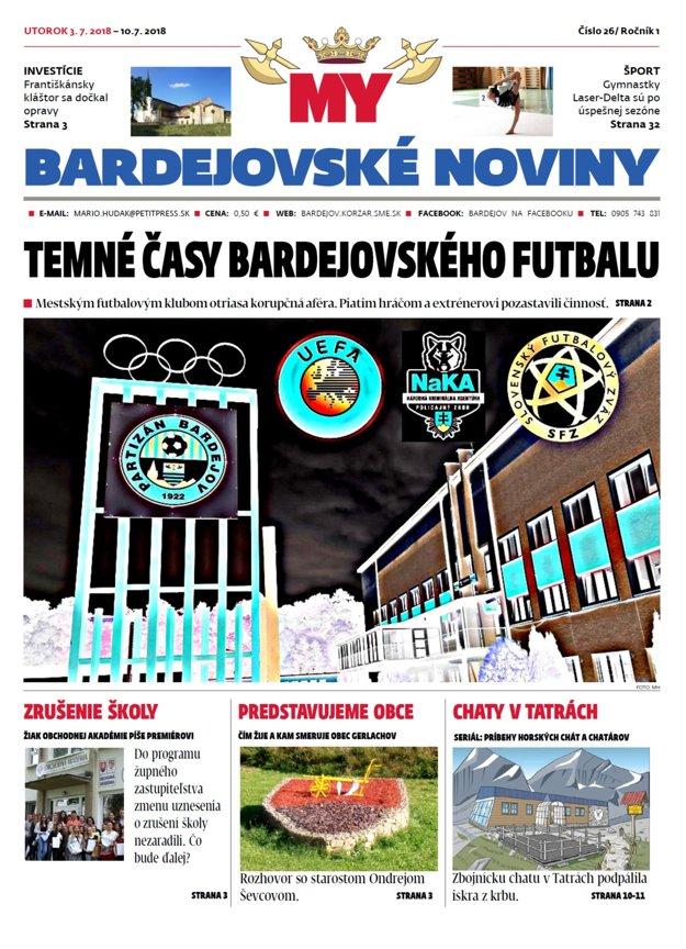 Titulka MY Bardejovské noviny číslo 26
