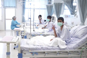 Zachránení chlapci sa momentálne sa nachádzajú v nemocnici v meste Čiang Rai.