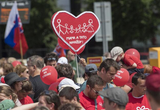Pochod za rodinu v Bratislave v roku 2018.