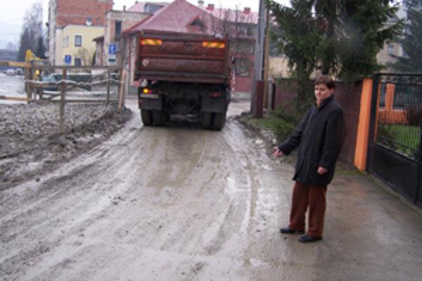 Lýdia Pšenčíková (na snímke) hovorí, že autá zo stavby by po ich príjazdovej ceste chodiť nemali. Obyvatelia sa tak musia do svojich domov doslova brodiť. Podľa stavbyvedúceho Ľuboša Weisa však momentálne iný prístup na stavenisko nie je možný. Po takejto