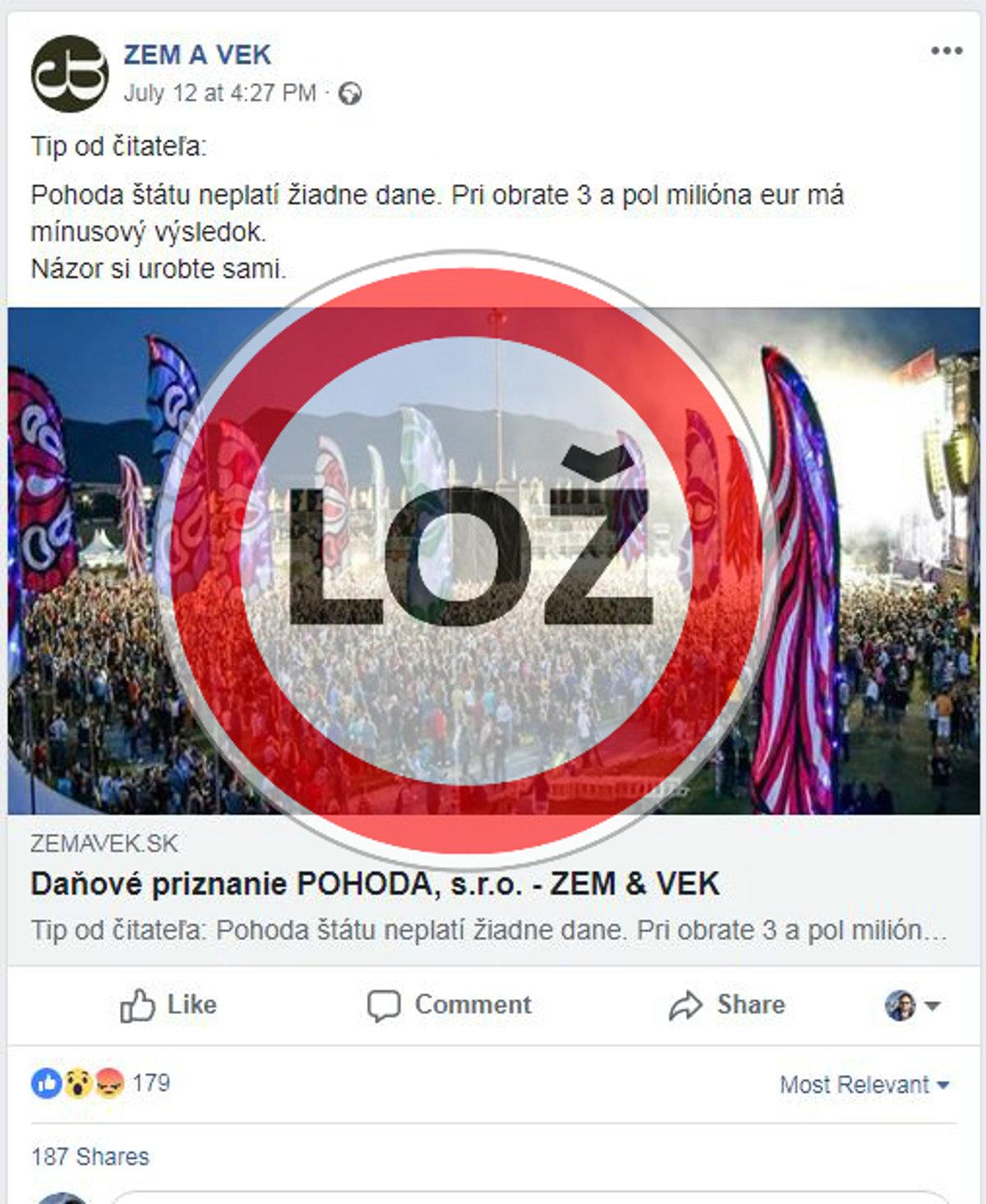 Festival Pohoda neplatí dane. Je to hoax a dá sa ľahko overiť