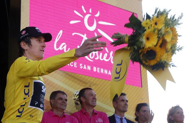 Geraint Thomas v žltom drese po 11. etape na Tour de France 2018.