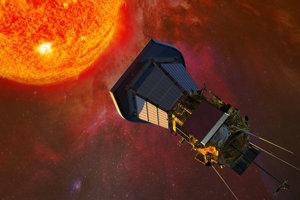 Vizualizácia sondy letiacej k Slnku.