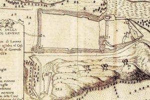 Rytina z roku 1664 zobrazuje hrad aj mestské opevnenie.
