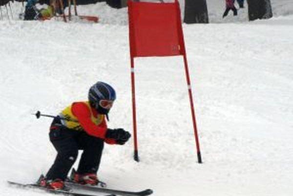 Mladý pretekár v obrovskom slalome.