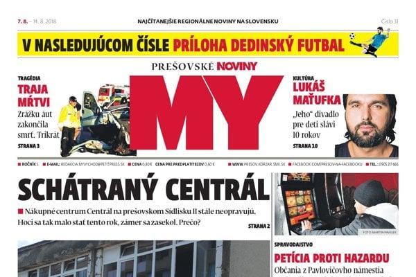 Titulná strana týždenníka MY Prešovské noviny č. 31/2018.