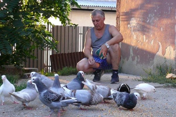 Štefan Krošlák a jeho holuby.