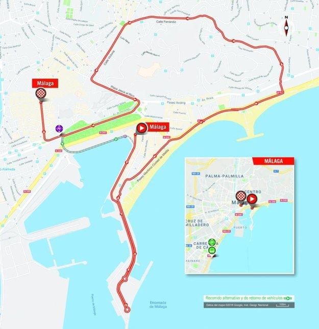 Mapa 1. etapy pretekov Vuelta 2018.