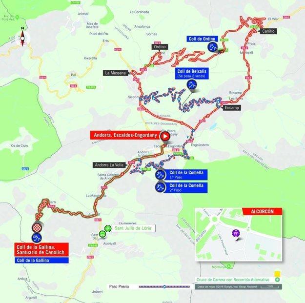 Mapa 20. etapy pretekov Vuelta 2018. (zdroj: lavuelta.es)