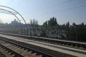 Sprejeri postriekali v Trenčíne protihlukovú stenu grafitovými obrazcami.