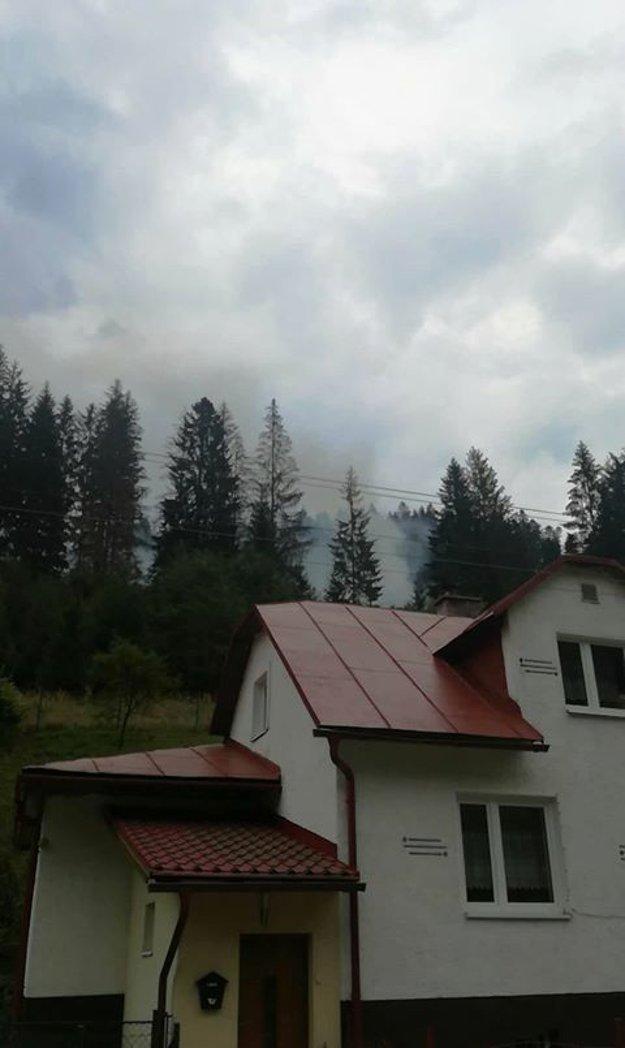 Snímka, na ktorej je v pozadí vidno miesto, kde horí les.