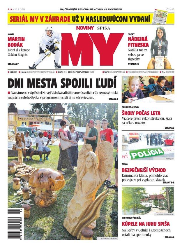 Titulná strana týždenníka MY Noviny Spiša č. 35/2018.