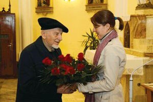 Ladislav Záborský a gratulanti.