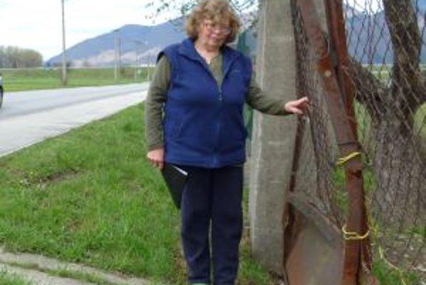 Zničená bránaTúto bránu Anna Majerová opravovala pred rokom a pol. Môže to robiť znova. Nový plot zatiaľ drží.